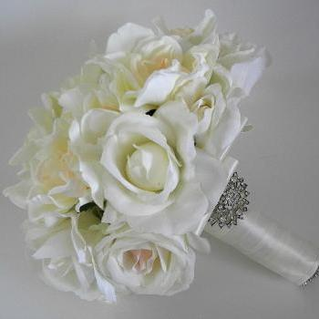 Gardenia and Rose Real Touch Bridal Bouquet in Ivory.